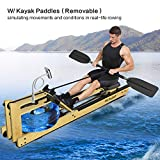 Mr Rudolf Oak Wood Water Rowing Machine with Monitor W/Bonus Rowing Machine Cover W/Bonus Kayak Paddles Home Gyms Training Equipment Sports Exercise Machine Fitness Indoor…
