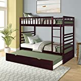 Merax Twin Bunk Beds for Kids Twin Over Full Bunk Beds with Ladder and Safety Guardrail with Additional 3rd Bed