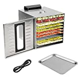 Homgrace Kitchen Commercial Food Dehydrator, Stainless Steel 10 Trays Food Dehydrator Nut Durable Fruit Sausage Jerky Dryer with digital Timer for Beef Jerky, Dried Fruits, Vegetables & Nuts (silver)…