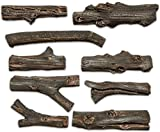 Midwest Hearth Deluxe Decorative Branch and Twig Set | Cast from Real Logs and Hand Painted in USA (Driftwood 9-Piece)