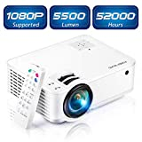 Projector, [2020 Updated] Mini Projector 1080P Supported, 5500 Lux 210' Display with 52,000 Hrs LED Movie Projector Compatible with Phone,Computer,Laptop,USB,HDMI,VGA-Home,Office,Outdoor Entertainment