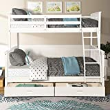 Wood Bunkbeds, Twin Over Full Bunk Bed with 2 Storage Drawers, Sturdy Wooden Bunk Frame, Twin Cot with Ladder and Safety Rails Convenience to Take Care of Your Children (White)
