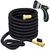 TheFitLife Flexible and Expandable Garden Hose - Triple Latex Core with 3/4' Solid Brass Fittings and 8 Function Spray Nozzle, Easy Storage Kink Free Water Hose (50 FT)