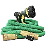 NGreen Expandable and Flexible Garden Hose - 25/50/75/100 Feet Strongest Triple Core Latex and Solid Brass Fittings Free Spray Nozzle 3/4 USA Standard Easy Storage Kink Free Water Hose (50FT)