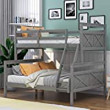 P PURLOVE Twin Over Full Bunk Bed Twin Over Full Loft Bed Wood Bunk Bed with Ladder, Safety Guardrail for Living ROM Bedroom Guest Room