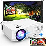 WiFi Mini Projector, 2020 Latest Update 4500 Lux [100' Projector Screen Included] Outdoor Movie Projector, Supported 1080P Synchronize Smartphone Screen by WiFi/USB Cable for Home Entertainment