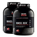 GNC AMP Mass XXX - Strawberry, Twin Pack, 6.2lbs per Bottle, Increases Lean Muscle Mass