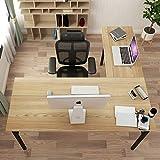 DlandHome L-Shaped Desk Large Corner Desk Folding Table Computer Desk Home Office Table Computer Workstation, Teak DND-ND11-TB
