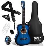 "Beginner 36"" Classical Acoustic Guitar - 3/4 Junior Size 6 String Linden Wood Guitar w/ Gig Bag, Tuner, Nylon Strings, Picks, Strap, For Beginners, Adults - Pyle PGACLS82BLU (Blue Burst) Blue Fade"