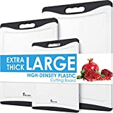 Cutting Boards for Kitchen, Extra Large Plastic Cutting Board Dishwasher Chopping Board Set of 3 with Juice Grooves, Easy Grip Handle, Black, Kikcoin