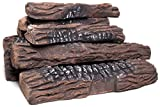 Natural Glo Large Gas Fireplace Logs | 10 Piece Set of Ceramic Wood Logs. Use in Indoor, Gas Inserts, Vented, Electric, or Outdoor Fireplaces & Fire Pits. Realistic Clean Burning Accessories