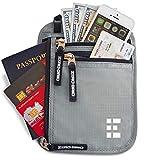 Zero Grid Neck Wallet w/RFID Blocking- Concealed Travel Pouch & Passport Holder (Ash)