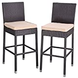 Do4U Set of 2 Patio Bar Stools All-Weather Wicker Outdoor Furniture Chair, Bar Chairs with Brown Cushions & Footrest | Garden Pool Lawn Backyard | Steel Frame| Barstools (Brown)