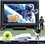 Sewinfla 20Ft Inflatable Movie Screen with 2 Replaceable Screen Cloth - Front and Rear Projection - Blow Up Outdoor and Indoor Projector Screen for Party, Easy to Set Up