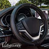 Valleycomfy Steering Wheel Covers Universal 15 inch - Genuine Leather, Breathable, Anti Slip & Odor Free (Black with White Lines)