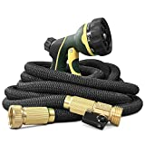 NGreen Flexible and Expandable Garden Hose - Strength Durable Fabric and 13-Layer Latex Inner Tube, Leakproof Solid Brass Fittings with Nozzle, Lightweight Easy Storage Kink Free Water Hose (50 FT)