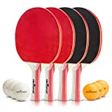 Abco Tech Ping Pong Paddle & Table Tennis Set - Pack of 4 Premium Rackets and 6 Table Tennis Balls - Soft Sponge Rubber - Ideal for Professional and Recreational Games - 2 or 4 Players (1-Star)