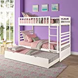 Twin Over Twin Bunk Beds for Kids, Bunk Bed with Trundle, Wooden Twin Size Trundle Bed Frame with Safety Rail and Ladder (Snow White)