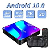 Android TV Box 10, Rk3318 2GB 16GB Supports 4K 3D, Smart tv Box with Mini Keyboard USB3.0 Dual-Band WiFi Bluetooth 4.0 HDMI miracast videocall