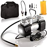 Portable Double Cylinder Air Compressor Tire Inflator with LED Flashlight, 12V Compact Air Pump for Car Tires, 150 PSI Heavy-Duty Metal Tire Pump, For SUV, Off-Road, Trailer, Truck, Bike, Air Bed