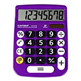 Desktop Calculator 8 Digit with Large LCD Display and Sensitive Button, Solar and Battery Dual Power, Standard Function for Office, Home, School, CD-8185 (Light Purple)