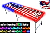 PartyPongTables.com 8-Foot Beer Pong Table w/Cup Holes & LED Lights - USA Edition, Model:PPT-082220225