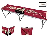 Red Cup Pong Trademark Innovations 8' Folding Beer Pong Table with Bottle Opener, Ball Rack and 6 Pong Balls - Comedic Design