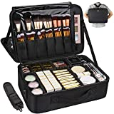 MONSTINA Large Capacity Makeup Case 3 Layers Cosmetic Organizer Brush Bag Makeup Train Case Makeup Artist Box for Hair Curler Hair Straightener Brush Set and Cosmetics