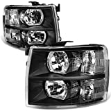 Pair of Black Housing Clear Corner Headlight Assembly Lamps Replacement for Chevy Silverado 1500 2500 3500 GMT900 07-14
