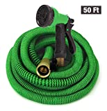 GrowGreen Hoses, Expandable Garden Hose, Water Hose with High Pressure Hose Spray Nozzle, Flexible Garden Hose with All Brass Connectors (50 Feet)