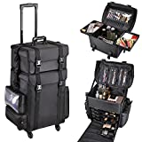 AW Classic Black 2in1 Soft Sided Rolling Makeup Case Freelance Makeup Artist Cosmetic Organize Storage Travel Train Case