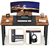 CubiCubi Computer Office Desk 55', Study Writing Table, Modern Simple Style PC Desk with Splice Board, Black and Rustic Brown