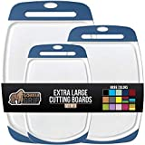 Gorilla Grip Oversized Cutting Board, 3 Piece, Easy Grip Handle, Juice Grooves, Non-Slip, Extra Large Thick Chopping Boards, Dishwasher Safe, Non Porous, Kitchen, Professional Serving, Set of 3, Blue