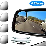 4 Pieces Fan-Shaped Automobile Rear Blind Spot Mirror, 360 Degree Rotating Design, Automobile Side Mirror Wide Angle Mirror Safety Convex Rearview Mirror for Car Truck Van (Natural Mirror Color)