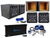 (2) KICKER 45L7R152 15' 3600w L7R Car Subwoofers+Vented Box+Amplifier+Amp Kit