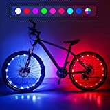 Nexillumi Upgrade Waterproof LED Bike Wheel Lights 2-Piece Set, with Batteries and Spoke Clips, Features Include 7 Colors 4 Modes and 18 Strobe Great for Gifts