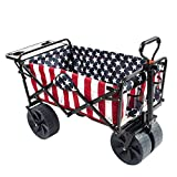 MacSports Collapsible Folding Outdoor Beach Wagon with Side Table, Perfect for Camping, Concerts, Sporting Events, The Beach, and More - American Flag Pattern