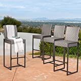 Conrad Patio Furniture ~ Outdoor Bar Stools (Grey) (Wicker) (Set of 4)