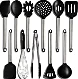 Home Hero 11 Silicone Cooking Utensils Kitchen Utensil Set - Stainless Steel Silicone Kitchen Utensils Set - Silicone Utensil Set Spatula Set - Silicone Utensils Cooking Utensil Set Salad Tong