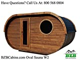BZBCabins.com Oval Sauna Kit W2, 8 Person Outdoor Sauna with Harvia M3 Wood Burning Heater