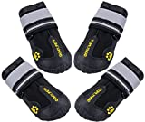 QUMY Dog Boots Waterproof Shoes for Large Dogs with Reflective Straps Rugged Anti-Slip Sole Black 4PCS (Size 7: 3.1'x2.7'(LW), Black)