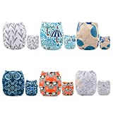 ALVA Pocket Cloth Diapers Reusable, Washable Adjustable, One Size for Baby Boys and Girls, 6 Pack with 12 Inserts 6DM26