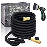 TheFitLife Flexible and Expandable Garden Hose - Strongest Triple Latex Core with 3/4' Solid Brass Fittings Free 8 Function Spray Nozzle, Easy Storage Kink Free Water Hose (50 FT)