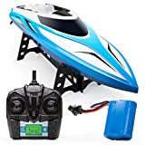 Force1 Velocity H102 RC Boat - Remote Control Boat for Pools and Lakes, Fast RC Boats for Adults and Kids with 20+ mph Speed Boat, 4 channel 2.4GHZ Remote Control, and Rechargeable Boat Battery (Blue)