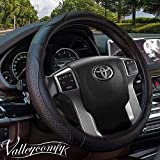 Valleycomfy 15.75 inch Auto Car Black Leather Steering Wheel Covers- for F-150