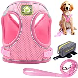 Puppy Harness and Leash Set-Adjustable Dog Vest Harness with Reflective- Dual Breathable for All-Weather with Dog Poop Bag Holder