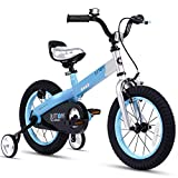 RoyalBaby Boys Girls Kids Bike 12 Inch Matte Button Bicycles with Training Wheels Child Bicycle Blue