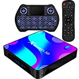 Android TV Box 10.0,RK3318 Smart TV Box 2GB 16GB Support 2.4G 5.8G WiFi Bluetooth 4.1 with Mini Backlit Keyboard Ethernet LAN 3D 4K Video Android TV Player Google Mini PC Set Top TV Box