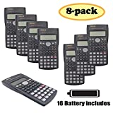 RENUS 8 Packs, 2-Line Engineering Scientific Calculator Function Calculator for Student and Teacher