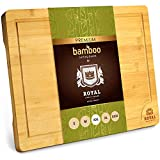 XXL Bamboo Cutting Board for Kitchen with Juice Groove - Wooden Chopping Board for Meat, Vegetables, Fruit and Cheese | Charcuterie Serving Tray, (XXL, 20 x 14')